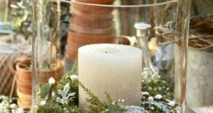 Really like this centrepiece or decoration idea - candles in jars with a wrappin...