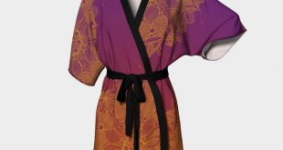 Red and Purple Mandala Pattern Kimono Robe - ZeichenbloQ