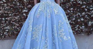 Romantic Ball Gown Prom Dresses Off-the-Shoulder Baby Blue Lace Appliques Evenin...