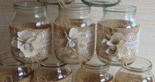 Set of 10 Rustic Wedding Burlap Jars, Rustic wedding decor, Lace and burlap jar, burlap centerpiece, country home decor, wedding jars