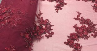 Shop Lace Fabric Burgundy 3D Floral-Flower Design Embroider With Diamonds And Hand Beaded With On A Mesh Lace-Dresses-Bridal Accessories-Nightgown By Yard