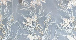 Skyblue Floral  Lace Fabric Bridal wedding dress Fabric Fashion Costume Lace 51'' Wide S0555