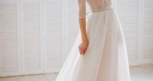 Stella / Vintage Natur Französisch Spitze Hochzeitskleid mit geschlossenem Rücken, 3/4 Ärmel, romantische Brautkleid, leicht rosa Brautkleid, entbeint