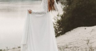 V Neck Backless Wedding Dresses, Lace Chiffon A Line Wedding Gowns, White Bridal Dresses, Elegant Wedding Party Dresses