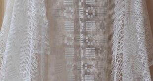 Vintage Cotton Fabric, Lace Fabric Tulle For Window Curtains, 8,2 yds/ 7,5 m White Gauze Mesh Flowers & Zigzag Pattern Cloth,Organic Textile
