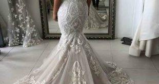 Vintage Lace Wedding Dresses Sweetheart Neck Mermaid Wedding Dress AWD1501 - #AW...
