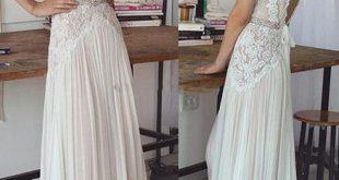 Vintage spitze perlen brautkleider 2017 einfache A-linie v-ausschnitt v backless sweep zug brautkleider