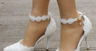 White lace wedding shoes women high heels thin heels pointed toe wedding heels