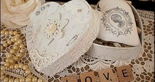 heart box from vintagewithlaces - #vintage #lace #heart #box #white #crafts #Fre...