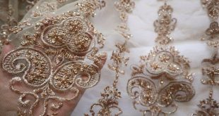 heavy beaded Lace Fabric, metallic gold beaded embroidered French lace fabric, bridal lace fabric fo