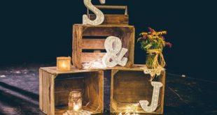 rustic wedding décor - initials - mason jar - lace - crates - diy wedding